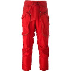 Faith Connexion Cargo trousers ($820) ❤ liked on Polyvore featuring pants, red, red trousers, red pants, cargo trousers, silk trousers and silk pants