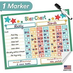 "Dry Erase Reward Chore Chart - 16"" x 13"" - Multiple Children Behavior Incentive Star Charts - Kids Responsibility To Do List - Reusable Toddler Home & Classroom Teaching Resource (Green)"