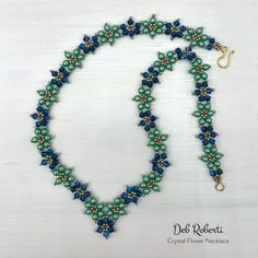 Deb Roberti's Crystal Flower Pattern Collection Beading Tutorials, Beading Patterns, Flower Patterns, Flower Bracelet, Flower Necklace, Beaded Necklace, Beading Needles, Crystal Flower, Sell Items