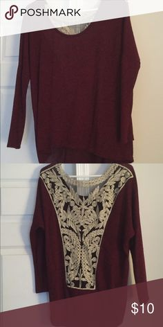 Soft, lightweight sweater Lightweight, kind of see-through but not completely! Would need to wear something under it, but design on the back is super cute! No rips/tears/stains! ‼️ no tag but fits like a Medium ‼️ Charlotte Russe Tops Blouses