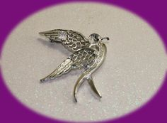 Vintage Brooch Bird Brooch - Signed Sarah Cov Silver Tone Swallow Costume Jewelry / Bird in Flight by IRENESVINTAGEBLING on Etsy