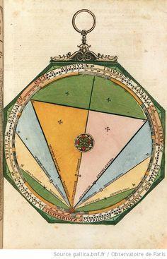 Disque mobile donnant une description détaillée des cinq aspects planétaires et de leur influence supposée, illustrations de Astronomicum caesareum, Petrus Apianus, 1540