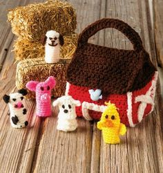 Farmyarn Finger Puppets in Red Heart Super Saver from Best Crochet Animals, Toys and Dolls by Crochet World Magazine