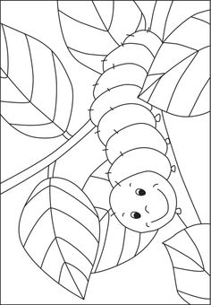 Caterpillar coloring template for pre-K and kindergarten kids - from www.kigaportal.com