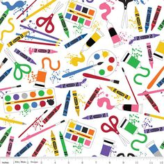 Art Paint Crayons Scissor Toss Black Cotton Fabric Riley Blake C6620 By The Yard