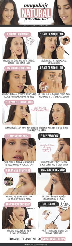 maquillaje natural paso a paso mejores equipos Simple Makeup, Natural Makeup, Beauty Make Up, Hair Beauty, Beauty Secrets, Beauty Hacks, Party Make-up, Party Games, Make Up Tricks