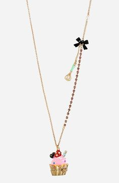 Betsey Johnson 'Paris' Long Cupcake Pendant Necklace available at #Nordstrom