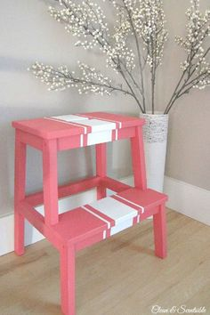 Painted BEKVAM Step Stool, http://hative.com/creative-diy-painted-furniture-ideas/