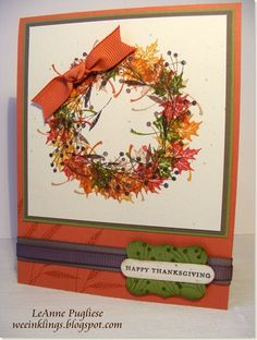 Autumn wreath using Rubber Stamp Tapestry peg stamps.