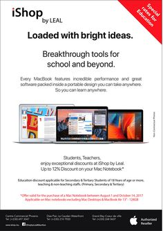 Back to School Promo at iShop by LEAL - 12% Discount on Apple Notebooks for Teachers & Students. Tel: 210 7920 / 697 3047 / 268 0607