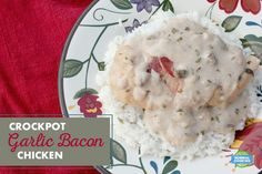 Crockpot Garlic Bacon Chicken - cheap, easy, and delicious! Only requires 5 ingredients and about 10 minutes of prep, and you've got a delicious meal! Slow Cooker Recipes, Crockpot Recipes, Cooking Recipes, Chicken Bacon, Suppers, Poultry, Crock Pot, Entrees, Garlic