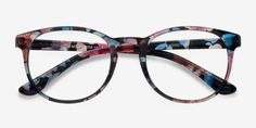 Little Muse Blue Floral Plastic Eyeglasses from EyeBuyDirect. A fashionable frame with great quality and an affordable price. Come see to discover your style.