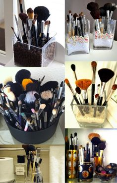 Storage for makeup brushes.