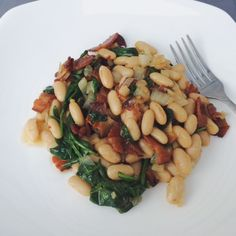 Beans, Bacon and Spinach