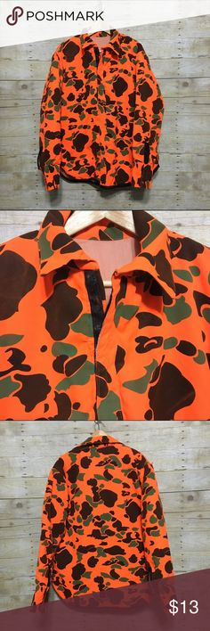 Handmade blaze orange camo jacket, sz. M/L Handmade blaze orange camo jacket with Velcro closure, sz. M/L. One small area where the stitching came out on the shoulder seam - very easily repairable - please see photos. Jackets & Coats Military & Field