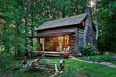 Cabins And Cottages: The vintage cabin, likely built in the was . Old Cabins, Log Cabin Homes, Cabins And Cottages, Cabins In The Woods, Tiny Log Cabins, Small Cabins, Cabin Crafts, Vintage Cabin, Little Cabin