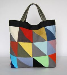 eco tote - Green Swan upcycled patchwork