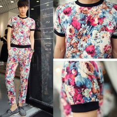 Men's New Casual Floral Short Sleeve Fashion Summer T-shirt and Pants Suit Set