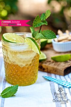 Sweet Honey Mint Green Tea Recipe | Healthy, refreshing drink hot or iced | FamilyFreshCooking.com | © MarlaMeridith.com