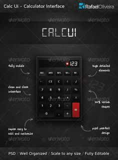 A Perfect Calculator Interface High detailed and fully scalable, Calc Ui is the perfect choice for building softwares and applica