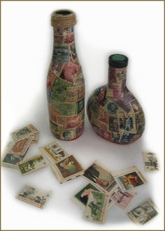 Two glass bottle decoupaged with old stamps. Brief Description: This is a perfect project for used postage stamps. As long as ...