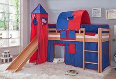 Ein schickes halbhohes Bett mit Rutsche zum spielen und schlafen. Aus massiver Buche in Ausführung natur lackiert. Die Rutsche bringt viel Spaß beim Spielen. Zum Lieferumfang gehören das Textilset best. aus Vorhang, 1-er Tunnel, Turm und 1 x Tasche in der Farbe blau/rot, aus reiner Baumwolle 100% und bei 30° waschbar. Die fantasievolle Optik mit Tür/Fenster, sowie farblichen Absatz runden das G...