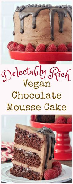 whole Delectably Rich Vegan Chocolate Mousse Cake with a slice on a plate in front
