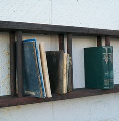 "Antique Wood Double Ladder Mounted for Book Shelves or Display Shelving 36"" wide on Etsy, $89.95"