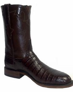 Mens Lucchese Classics Sienna Caiman Crocodile Belly Cut Custom Hand-Made Roper Boots E2158