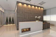 Recepção com tons brancos, off white e madeira. Atendimento com modernidade. by RS Design