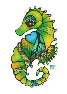 Seahorse beach nursery decor ocean whale hawaii art, green blue, MeekNest Hawaii, surf art, surfer girl