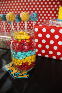 Super Hero birthday party candy.