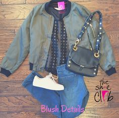 Everything looks better with this #bomberjacket 😍  Olive Bomber Jacket $65 Gremlin Black Top $99 Articles of Society Skinny Jeans $74 KAANAS Blush Sneaker $120 Hammitt Cory Black $485  ☎️ 210-824-9988