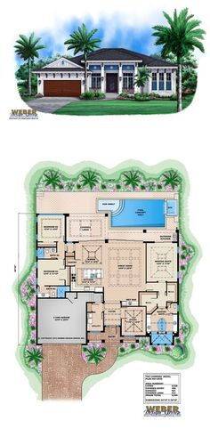 The Carmona house plan is a West Indies style design that evokes a breezy and casual island lifestyle. The open layout of the floor plan features an island kitchen that looks out to the great room and dining room. More Beach House Plans: https://www.weberdesigngroup.com/home-plans/style/beach-house-plans/