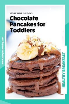 Chocolate and pancakes, seriously what's not love? Especially if they are healthy chocolate pancakes dripping in a delicious creamy, nutty sauce. #refinedsugarfree #pancakes #babyledweanibng #babyledfeeding #pancaketuesday Coconut Recipes, Banana Recipes, Strawberry Recipes, Fruit Recipes, Smoothie Recipes, Sweet Recipes, Healthy Chocolate, Chocolate Recipes, Breakfast For Kids