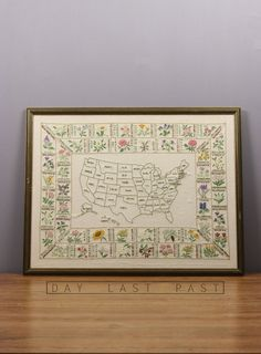 Hand Embroidered United States of America State Flower Map