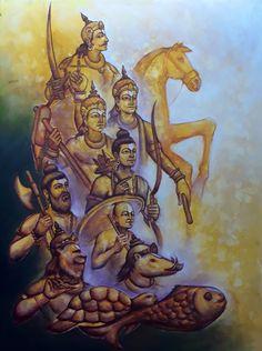 Dashavatara refers to the ten avatars of Lord Vishnu. Title : Dashavatara Size : x Medium : Acrylic on canvas Ganesha Drawing, Ganesha Painting, Lord Shiva Painting, Ganesha Art, Madhubani Painting, Hanuman Images, Lord Krishna Images, Krishna Hindu, Hindu Deities