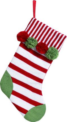 Cable Knit Christmas Stocking- Stripes and Polka Dots #christmasstocking