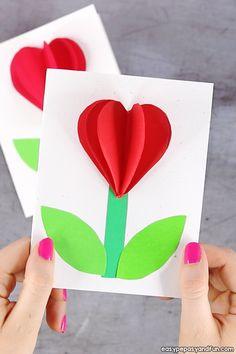 heart flower card (with flower template) - Valentine& .- Herz Blumenkarte (mit Blumenvorlage) – Valentinstag und Muttertag basteln Ide… heart flower card (with flower template) – Valentine& Day and Mother& Day craft idea – card template - Valentine's Day Crafts For Kids, Valentine Crafts For Kids, Valentines Diy, Holiday Crafts, Saint Valentine, Valentine Cards, Holiday Ideas, Heart Pop Up Card, Heart Cards