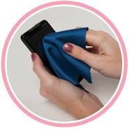 All that technology! How do I clean it? Well check this out. These microfiber cleaning towels are the perfect promotional items for your clients. Min order 250 @ $1.49 ea. You can imprint your logo on the outside case. Case available In 5 translucent and 2 solid colors. Cloth color choice - Gray, Light Blue, Blue, Blue Water drops, Green, Red and Pink. Call Dave to learn more and to request a sample @ 708-532-5636.