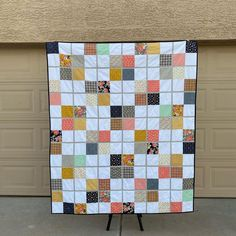 This fun, modern quilt was made with Golden Days fabric by Fancy Pants Designs for Riley Blake Designs