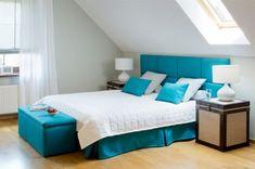 Spálňa v tyrkysovej farbe    #spalna#rimskaroleta#zaclona#vankuse#truhlica#prehoz Room, Furniture, Home Decor, Bedroom, Homes, Decoration Home, Room Decor, Rooms, Home Furnishings