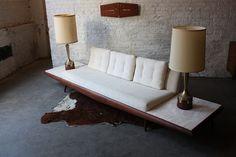 Adrian Pearsall Mid Century Modern Platform Sofa meets industrial