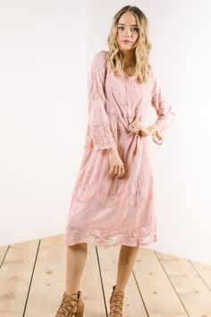 The Rehearsal Lace Dress in Dusty Rose