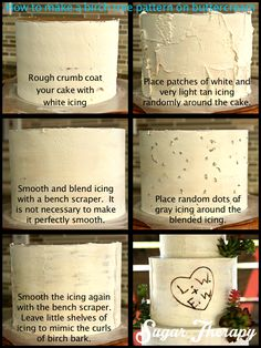 Birch bark on buttercream tutorial by Sugar Therapy.