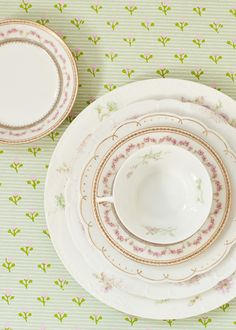 Pastel vintage floral china set. Love the soft pinks and that gold scallop edge!