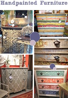 brightly painted furniture | Upholstered furniture and decorative nail heads continued as a trend ...