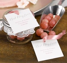 """Add these Rustic Vines Favor Tags to your guests' favor boxes or bags.  It's a great way to thank your guests for attending your wedding or special event.  Tags feature the sentiment """"Best Day Ever"""" printed in grey and may be personalized with your names and wedding date or three custom lines."""