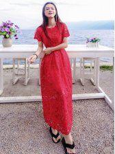 Vogue Lace Hollow Out Maxi Dress