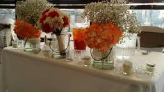 Head table with bride's bouquet